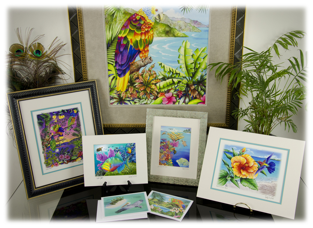 Carolyn Steele's art products: note cards, matted prints, large prints, and canvas giclees