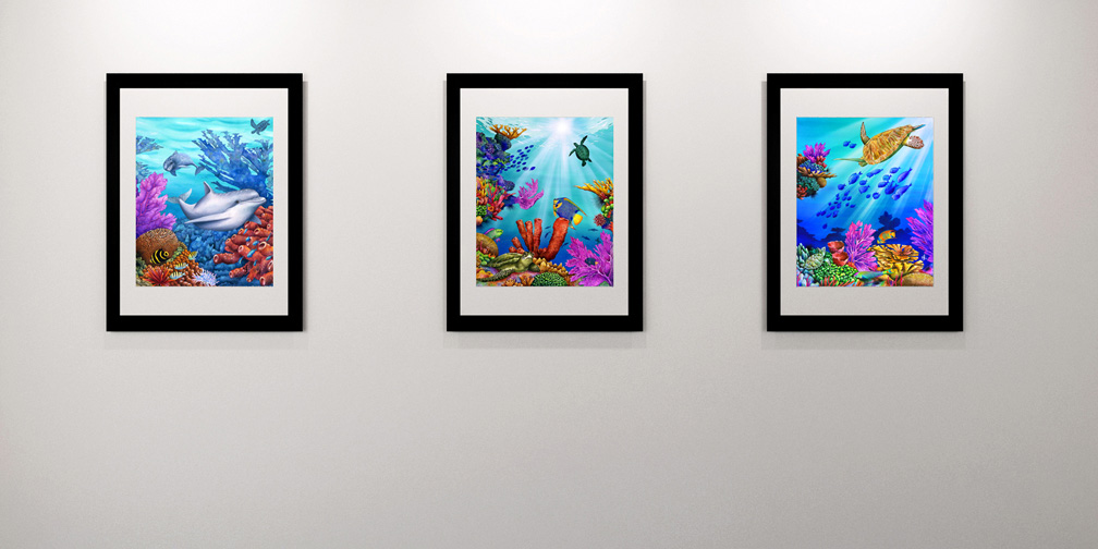 Art gallery with three framed prints by Carolyn Steele