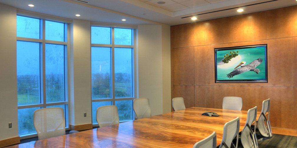 Corporate meeting room with large framed print bt Carolyn Steele