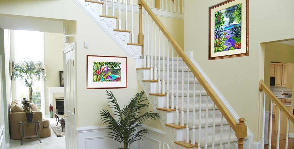 Foyer with framed art by Carolyn Steele
