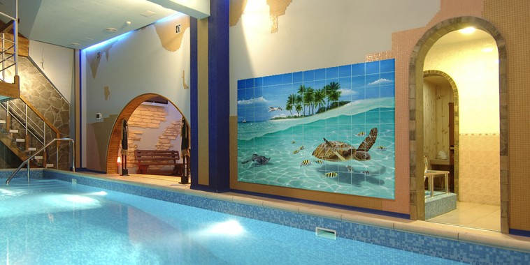 Swimming pool with tile mural image by Carolyn Steele